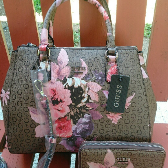 Guess Bags | Floral Handbag With Matching